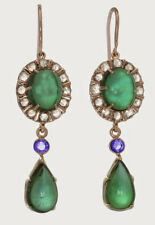 Victorian 925 Silver Dangler Earring 2.25cts Rose Cut Diamond Emerald Sapphire