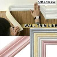 Home 3D Self-adhesive Decor Wall Molding Skirting Line Mural Border Sticker Hot