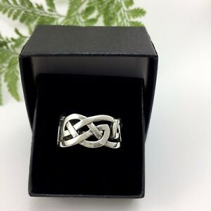 Very Solid Celtic Knot Sterling Silver 925 Band Ring Large Size Suit Man Woman