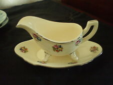 SMALL MORIYAMA MM FLORAL FOOTED GRAVY BOAT WITH UNDERPLATE - OCCUPIED JAPAN