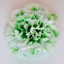"3.5"" Pure White & Green Sparkle Carnation Silk Flower Hair Clip St Patrick's Day"