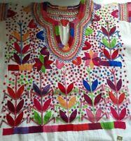 Maya Mexican Blouse Top Shirt Embroidered Flowers Corn Chiapas Cream Sz M