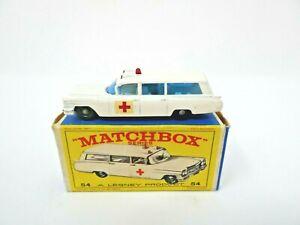 VINTAGE 1960's LESNEY MATCHBOX #54 CADILLAC AMBULANCE IN ORIGINAL BOX. NMNT!