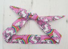 Pink Unicorn and Rainbow Head Scarf - Cotton Bib Baby Shower Bandana Bib