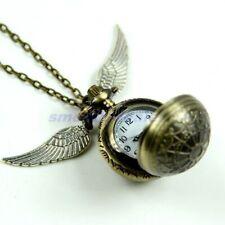 Reloj de bolsillo de cuarzo con colgante, collar de ala de bola de araña