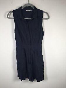 Jeanswest womens navy blue linen blend sleeveless playsuit romper size 12