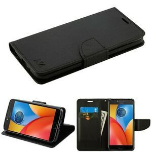 BLACK Leather Flip Wallet Case Cover Stand For ZTE Sequoia / Blade Z Max Z982