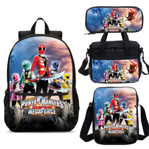 Power Rangers Cartoon Backpack Lunch Bag Pencil Case Boys School Bookbag Set Lot
