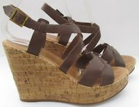 Aldo size 7 (40) brown leather high heel platform sandal wedges holiday
