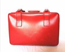 Valigia rossa pelle vintage rettangolare viaggio