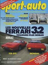 SPORT AUTO n°287 12/1985 GP AUSTRALIE FERRAI 328 & MONDIAL AVEC ENCART & POSTER