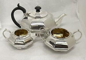 superb Solid Sterling Silver 3 Piece Tea Set Octagonal design good quality