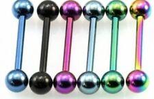 6 Titanium Anodized Tongue Bar Rings 14g 16mm Ball 5mm #T5