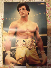 SYLVESTER STALLONE ROCKY / ELVIS PRESLEY - DOUBLE-SIDED POSTER FROM BRAVO MAG