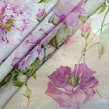 Silk designer fabric 2,5 yards Italian dress floral print luxury couture Italy