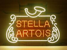 """New STELLA ARTOIS Beer Bar Real Glass Neon Sign 17""""x14"""" Fast Ship"""