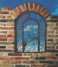 Wandbild Romantik Rose Blume Fenster 73x51 Rost Edelrost auch zum Hängen Garten