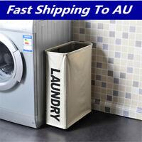 Laundry 4 Wheels Basket Washing Bin Clothes Hamper Sorter Foldable   CA