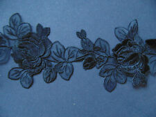 Black Rose Design Organza Embroidered Lace Trim 1 Metre  Sewing/Costume/Corsetry