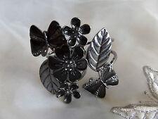 Black Leaf Butterfly & Flower Bangle Bracelet Spring Fastening With Diamante