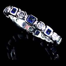 Band Toe Ring_Size-3_925 Sterling Silver Geometric Blue / Clear Cz Eternity