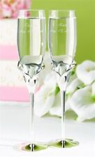 Unique Wedding Calla Lily Champagne Flutes Set of 2 Toasting Glasses