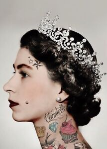 The Queen Punk With Tattoo Canvas Print Wall Art Picture Size 16x20 Inch 18mm