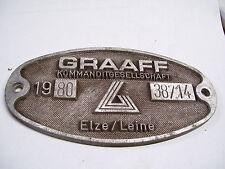 Deutsche Bahn Eisenbahn Schild Waggonschild GRAAFF Elze/Leine 1980 38714 #22