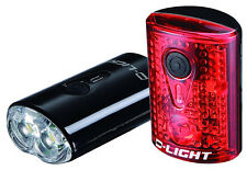 EyezOff USB Rechargeable LED Bicycle Lights Front/Rear Set