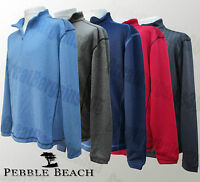 Mens Pebble Beach Pullover Golf Jumper Sweater 1/4 Zip Red Blue Black S M L XL