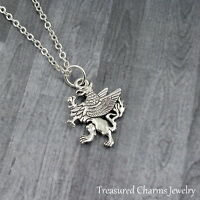 Silver Griffin Charm Necklace - Gryphon Griffon Mythical Creature Jewelry NEW