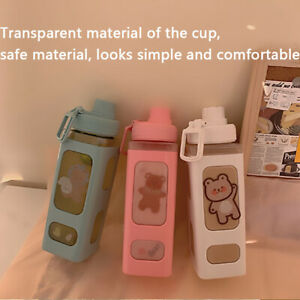 700/900ml Straw Water Bottle Cup Plastic Square Portable with Cup Brush Sticker