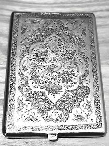 Antique hand engraved Persian solid silver cigarette case 167 gs  REF 771