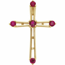 "Ruby Cross 18"" Necklace In 14K Yellow Gold"