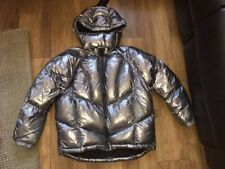 Ladies Size 8 Tooshop Silver Metallic Quilted Jacket Coat Puffa Puffer Parka