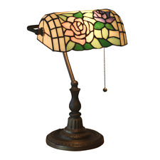 """16"""" Tiffany Style Archaize Table Lamp color Rose design Glass Zinc alloy base"""