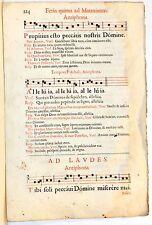 Stampa antica ANTIFONARIO SALTERIO MUSICA CANTO GREGORIANO F.224 1663 Old print