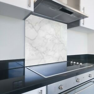 Toughened Printed Kitchen Glass Splashback - Bespoke Sizes - White Marble 140