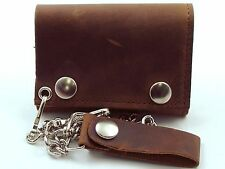 Distressed Natural Brown Leather Biker Chain Wallet Made in USA