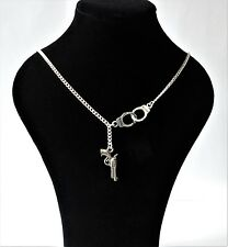 *UK* Handcuffs and Gun Pistol Freedom Necklace Pendant Silver Plated Chain