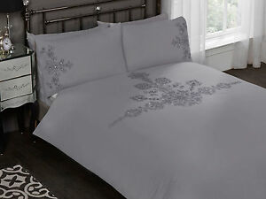 Grey Luxury Bedding Set Duvet Cover Flower Embroided Pattern with Diamantes