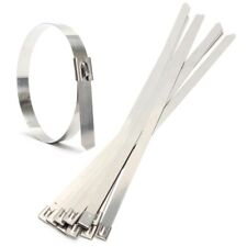 """10 pcs 0.39"""" x 15.75"""" Stainless Steel Metal Cable Zip Wrap Exhaust Straps E5L7"""