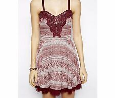 NWT $128 FREE PEOPLE winkle and Twirl Fit and Flare Dress in Wine Combo Size M
