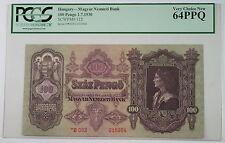 1930 Hungary Magyar Nemzeti Bank 100 Pengo Note SCWPM# 112 PCGS 64 PPQ Very Ch