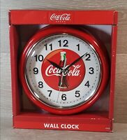 """Coca Cola Vintage Style Diners Metal Wall Clock 9"""" Round New in Box Old Stock"""