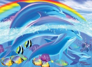Jigsaw Puzzle Animal Fish Dolphin Rainbows 100 pieces NEW Made in USA