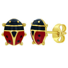 925 Sterling Silver Red Enamel Ladybug Earrings Stud Earrings Girls Children