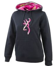 Browning Buckmark Women's SMALL Pullover Hoodie Nine Iron Gray & Realtree APC