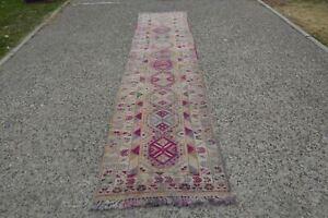 Pink Tribal Runner Rug, Boho Runner Rug Kitchen, Bohemian Oriental Runner Rug, H