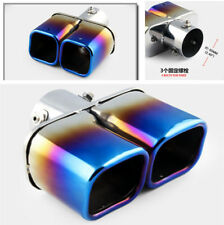 """2.4"""" Car Round Exhaust Tip 1 to 2 Dual Pipe Tail End Durable Stainless Steel"""
